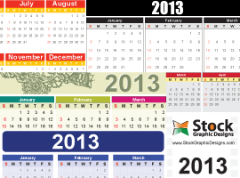 2013 Free Vector Calendar